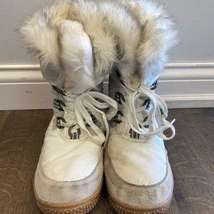 White and gray waterproof winter boots.